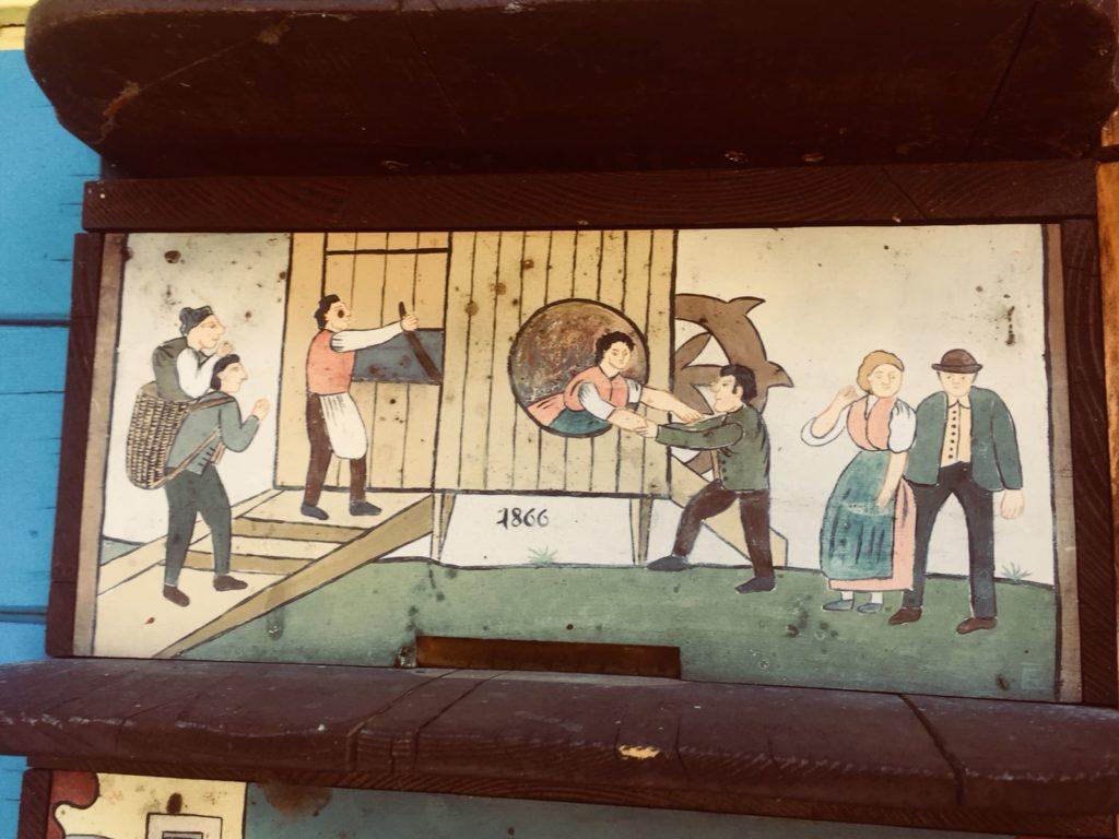 Tradycyjny obraz na słoweńskim ulu